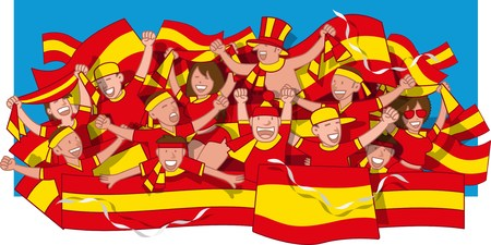 Spain Soccer fans cheering Vettoriali