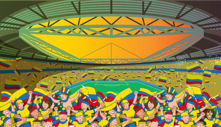 Colombia Soccer fans cheering Illustration