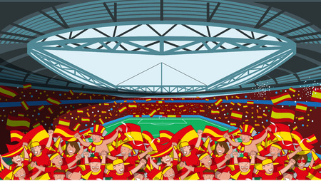 Spain Soccer fans cheering Illustration