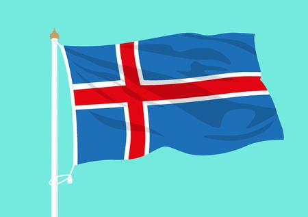 Iceland flag waving Çizim