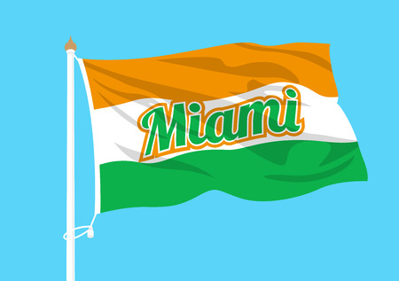 Miami flag waving Illustration