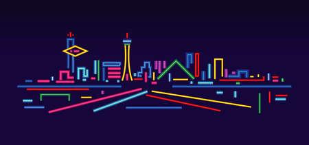 Las Vegas neon sign skyline