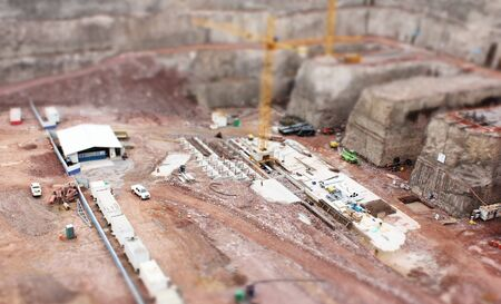 Aerial view of construction site with Tilt-Shift effect