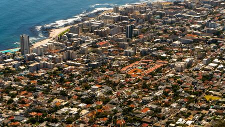 Top view to Cape Town city from top of Lion's head mountain. Selective focus. The city of Cape Town is a famous travel destinationin Africa. February 2020