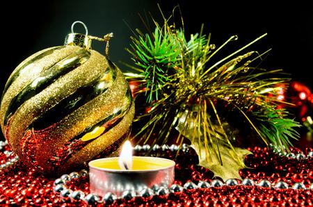 Christmas decoration,  ball and candle photo