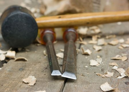 wood carving tools on the workbench Stock Photo
