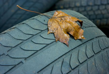 old car tyres photo