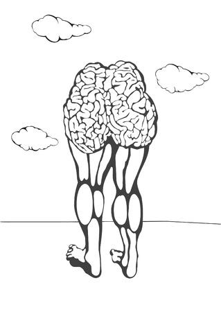 sarc�stico: mutaci�n sarc�stico de la sociedad contempor�nea. Pensando con el hemisferio derecho de su bum. Foto de archivo
