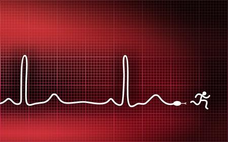 Cardiogramme-serpent. Fuir crise cardiaque