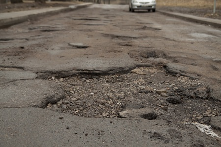 Wrecked road in the city centre