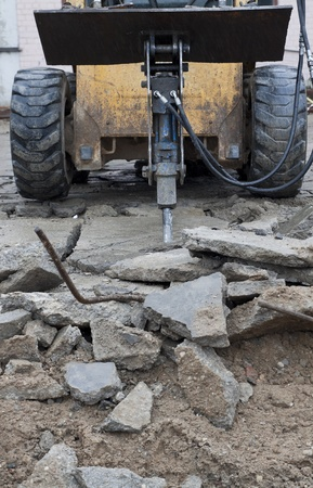 boring rig: Construction machinery with jackhammer. Demolition work