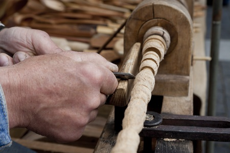 carving tool: wood carving process with metal chisel Stock Photo