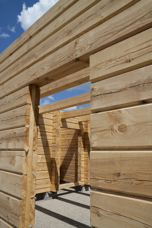 wooden house is under construction photo