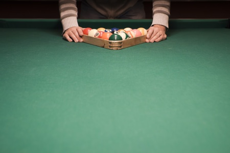 billiards cues: The start of the game of pool (billiard). Episode of pool game play