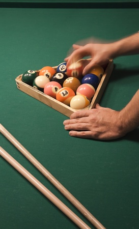 snooker cues: The start of the game of pool (billiard). Episode of pool game play