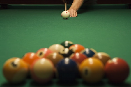 pool cues: The start of the game of pool (billiard). Episode of pool game play