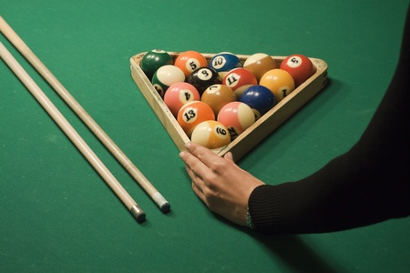 hits: The start of the game of pool (billiard). Episode of pool game play