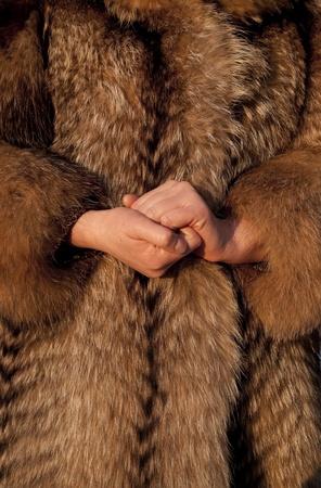 bontjas: Het dragen van bont jas in de koude winter Stockfoto