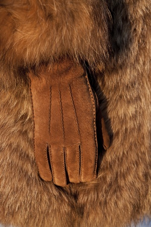 Wearing fur coat and leather gloves in cold winter photo