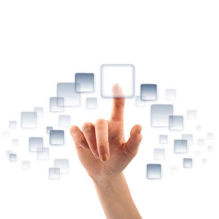 Finger on touch screen empty button Stock Photo