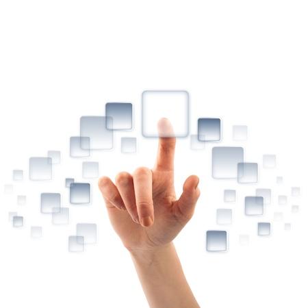 Le doigt sur le bouton écran tactile vide