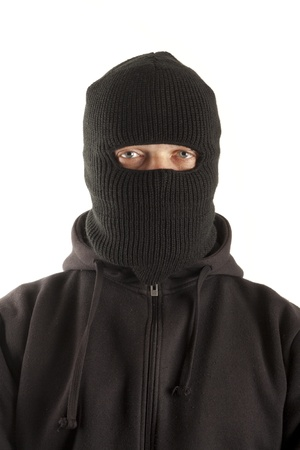 Man in mask on white background photo