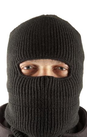 hijacker: Man in mask on white background Stock Photo
