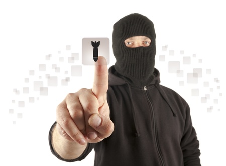 Man with mask pushing the virtual button Stock Photo - 13789763