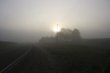 Morning fog in the countryside photo