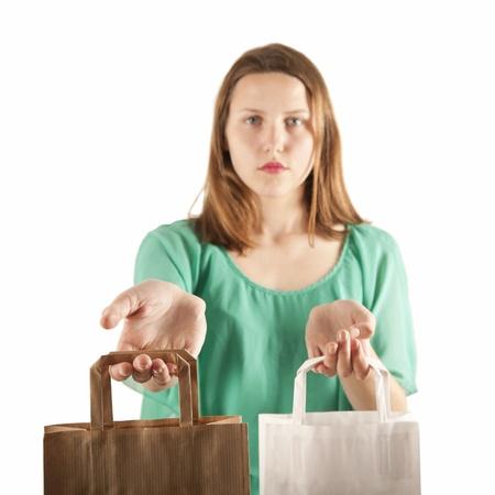 consumerism: Girl with paper bags  Consumerism symbol