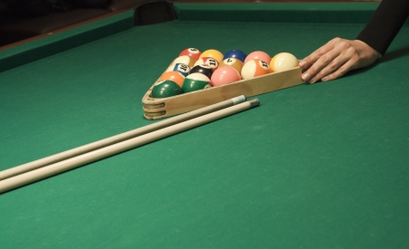 billiards cues: The start of the game of pool Stock Photo