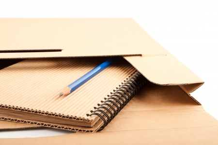 pencil case: Notepad, blue pencil and paper folder