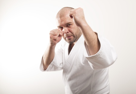 Martial arts. Fighter on a light background photo