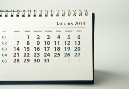 January. Calendar sheet. 2013 year calendar Stock Photo - 17778398