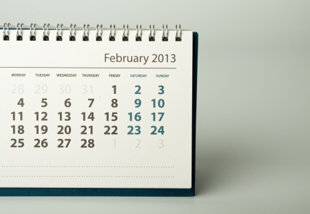 February. Calendar sheet. 2013 year calendar