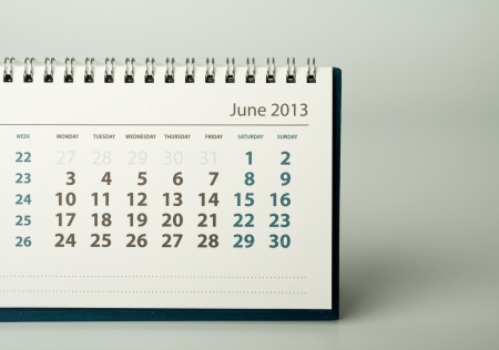 June. Calendar sheet. 2013 year calendar Stock Photo - 17778400