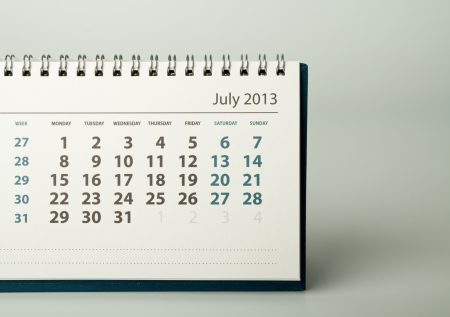 July. Calendar sheet. 2013 year calendar Stock Photo - 17778404