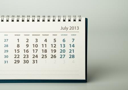 July. Calendar sheet. 2013 year calendar Stock Photo - 17778404
