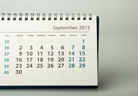 September. Calendar sheet. 2013 year calendar