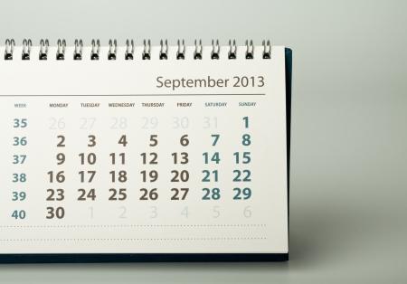 Septembre. Feuille de calendrier. Année civile 2013 Banque d'images