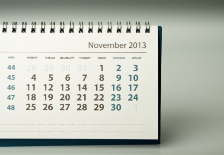 November. Calendar sheet. 2013 year calendar Stock Photo - 17778409