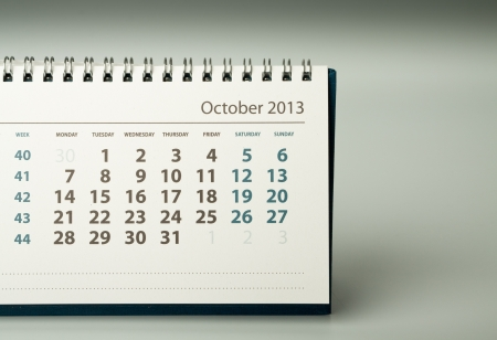October. Calendar sheet. 2013 year calendar Stock Photo - 17778407