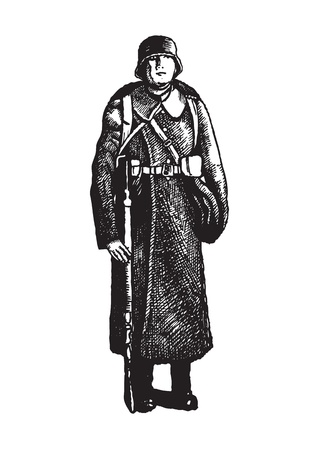 guerrilla warfare: Soldier with rifle on the white background Illustration