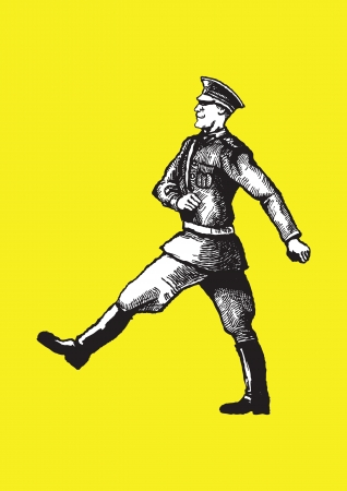 guerrilla: Soldier walking on the yellow background  Illustration