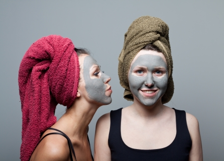Clay facial mask. A warm kiss from the sister.