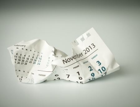 november calendar: November. Calendar sheet. Crumpled paper on the floor.