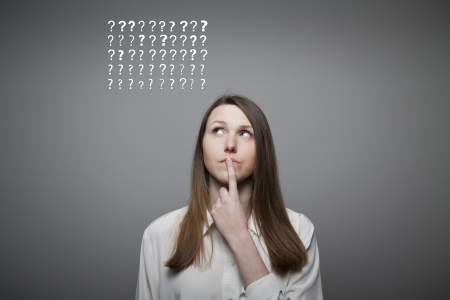 teaser: Young woman and many question marks above head