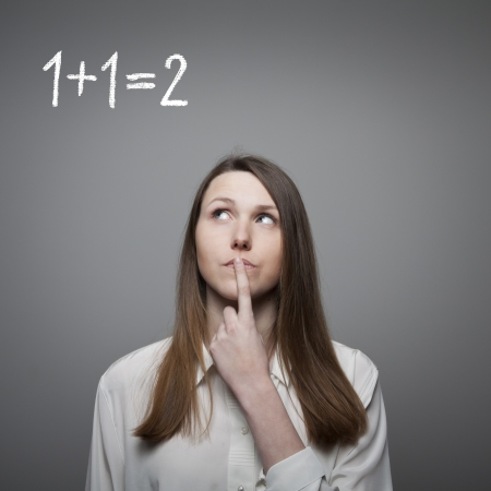 unintelligent: Young woman finding the solution. Stock Photo