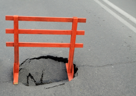 warning sign and a hole on the road