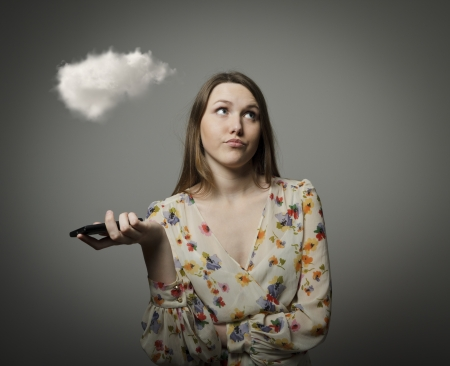 whim: Girl and cloud. Girl thinking. Imagination concept.